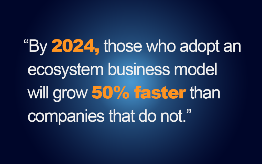 """Graphic that says, """"By 2024, those who adopt an ecosystem model will grow 50% faster than companies that do not."""""""